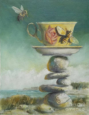 Painting - Bees And The Teacup by Mary Hubley