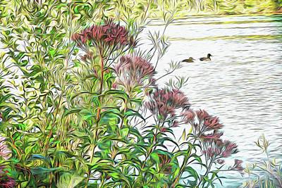 Digital Art - Behind The Milkweed by Leslie Montgomery
