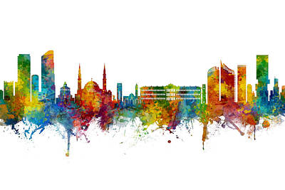 Digital Art - Beirut Lebanon Skyline by Michael Tompsett
