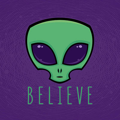 Science Fiction Royalty-Free and Rights-Managed Images - Believe Alien Head by John Schwegel
