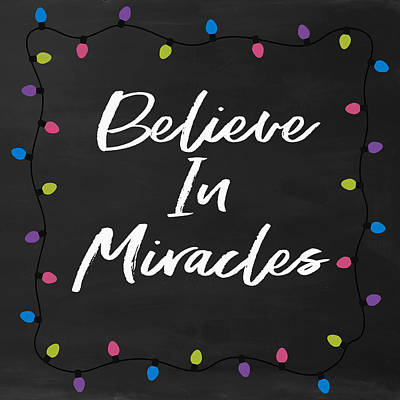 Light Bulb Wall Art - Digital Art - Believe In Miracles 2-art By Linda Woods by Linda Woods