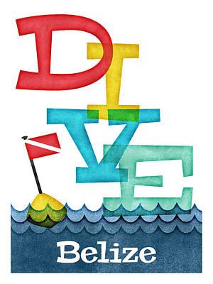 Scuba Diving Wall Art - Digital Art - Belize Dive - Colorful Scuba by Flo Karp