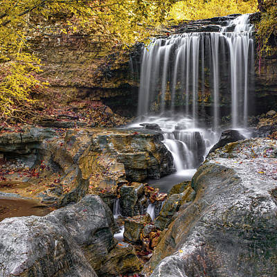 Photograph - Bella Vista Tanyard Creek Waterfall - Square Art Print by Gregory Ballos