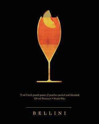 Digital Art - Bellini Cocktail - Classic Cocktails Series - Black and Gold - Modern, Minimal Decor by Studio Grafiikka