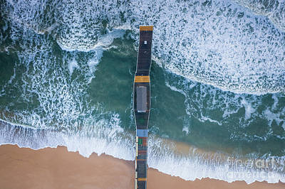 Photograph - Belmar Fishing Pier From Above by Michael Ver Sprill