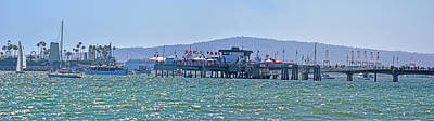 Sports Royalty-Free and Rights-Managed Images - Belmont Verterans Memorial Pier Long Beach Panorama 1 by Linda Brody