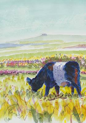 Painting - Belted Galloway Cow Dartmoor Watercolour Painting by Mike Jory
