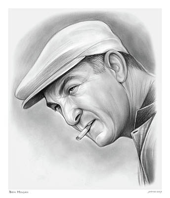 Sports Drawings - Ben Hogan by Greg Joens