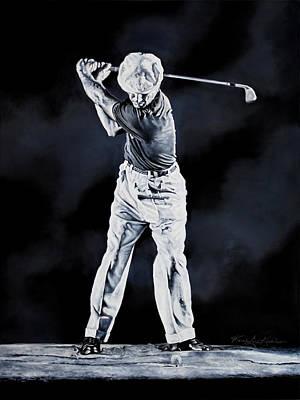 Sports Paintings - Ben Hogan Swing 1 by Hanne Lore Koehler