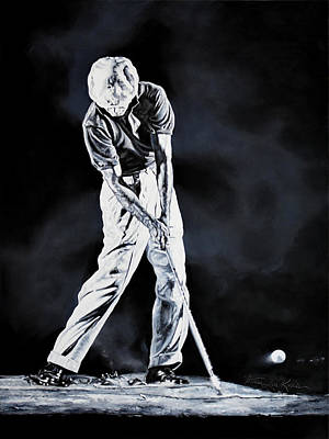 Sports Paintings - Ben Hogan Swing 3 by Hanne Lore Koehler