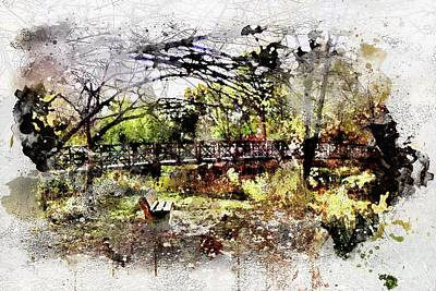 Digital Art - Bench On The River Watercolor by Michael Thomas