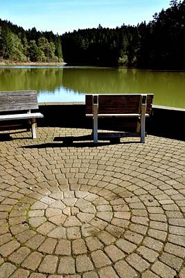 Photograph - Benches On Tilicum Lake Single by Jerry Sodorff