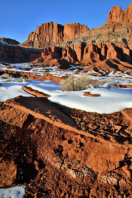 Photograph - Beneath The Fluted Wall In Capitol Reef by Ray Mathis