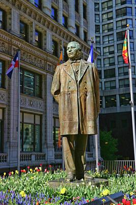 Photograph - Benito Juarez Statue - Chicago by Allen Beatty