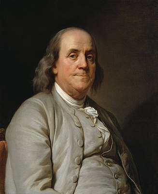 Landmarks Painting Royalty Free Images - Benjamin Franklin Painting - Joseph Duplessis Royalty-Free Image by War Is Hell Store