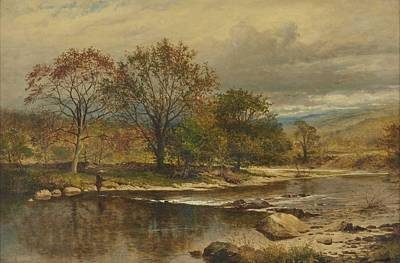 Sean Rights Managed Images - Benjamin Williams Leader  R.A. 1831 - 1923 A TROUT STREAM - AN AUTUMN AFTERNOON ON THE LLUGWY Royalty-Free Image by Benjamin Williams