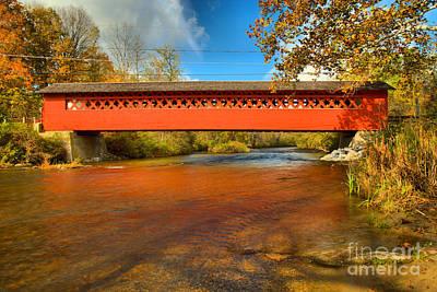 Photograph - Bennington Falls Covered Bridge by Adam Jewell