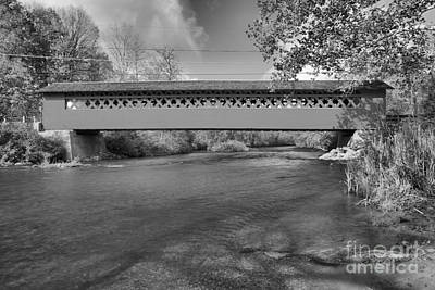 Photograph - Bennington Falls Covered Bridge Black And White by Adam Jewell
