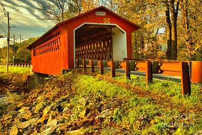 Photograph - Bennington Vermont Silk Covered Bridge by Adam Jewell