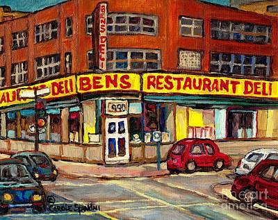 Painting - Ben's Deli Restaurant Corner De Maisonneuve Montreal Smoked Meat Landmark Street Scene Art C Spandau by Carole Spandau
