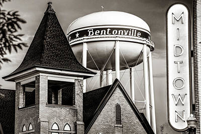 Photograph - Bentonville Water Tower - Midtown Neon - Classic Sepia Cityscape by Gregory Ballos