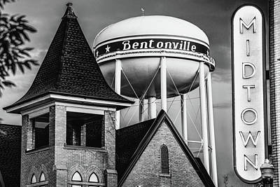 Photograph - Bentonville Water Tower - Midtown Neon - Monochrome Cityscape by Gregory Ballos