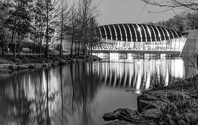 Photograph - Bentonville's Crystal Bridges Night Monochrome Reflections by Gregory Ballos