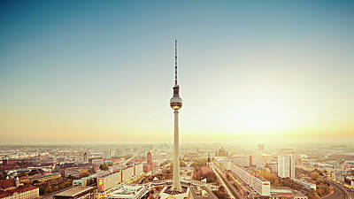 Berlin Cityscape With Fernsehturm At Art Print by Ricowde