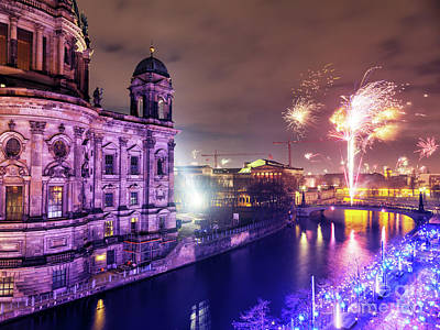 Photograph - Berlin New Years Fireworks 2018 by John Rizzuto