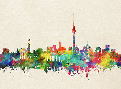 Abstract Skyline Royalty-Free and Rights-Managed Images - Berlin Skyline Watercolor by Bekim M