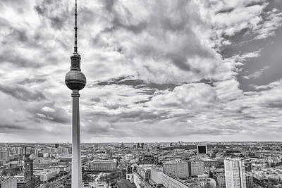 Uncle Sam Posters - Berlin Tv Tower And City Panorama BW by Stefano Senise