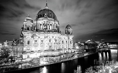 Photograph - Berliner Dom Calm At Night by John Rizzuto