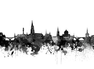 Abstract Skyline Royalty-Free and Rights-Managed Images - Bern Skyline Bw by Bekim M