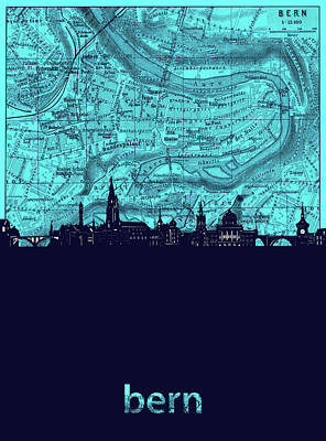 Royalty-Free and Rights-Managed Images - Bern Skyline Map Turquoise by Bekim M
