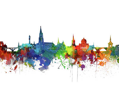 Abstract Skyline Royalty-Free and Rights-Managed Images - Bern Skyline Watercolor 2 by Bekim M