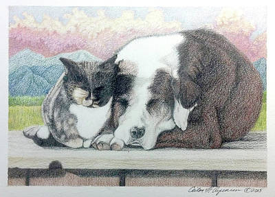 Drawing - Best Friends Furever by Ceilon Aspensen