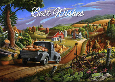 Painting - Best Wishes Greeting Card - Old Truck With Pumpkins Fall Farm Landscape by Walt Curlee