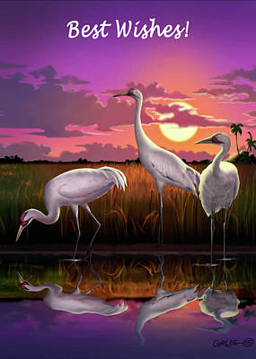 Digital Art - Best Wishes Greeting Card - Whooping Cranes Tropical Sunset by Walt Curlee