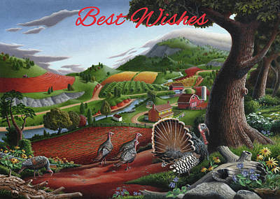 Painting - Best Wishes Greeting Card - Wild Turkey Country Landscape by Walt Curlee