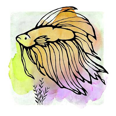 Mixed Media - Betta Fish Design by Patricia Strand
