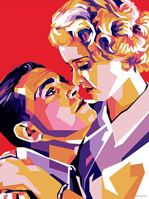 Auto Illustrations - Bette Davis and Richard Barthelmess by Stars on Art