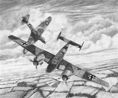 Drawing - Bf-110c Zerstorer by Douglas Castleman
