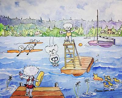 Painting - Bichon Summer Camp by Susanne Nason