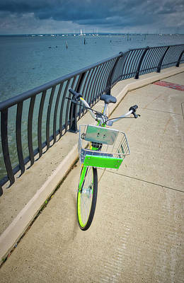 Photograph - Bicycle Along The Waterfront Walkway by Gary Slawsky