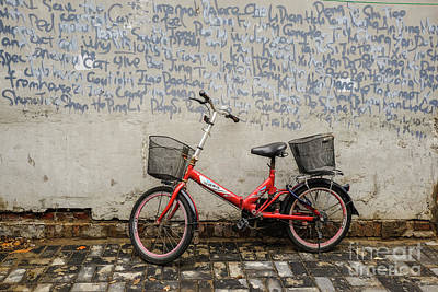 Photograph - Bicycle And Graffiti Wall by Iryna Liveoak