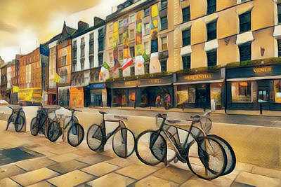 Photograph - Bicycles On The Streets Of Dublin by Debra and Dave Vanderlaan