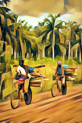Photograph - Bicycling To Market Abstract Painting by Debra and Dave Vanderlaan