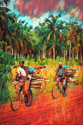 Photograph - Bicycling To Market Art by Debra and Dave Vanderlaan