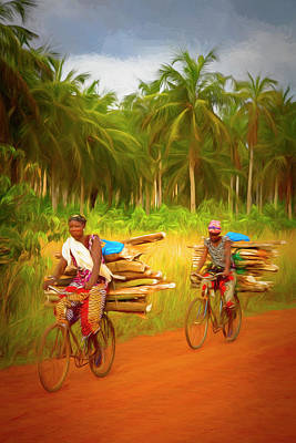 Photograph - Bicycling To Market Painting by Debra and Dave Vanderlaan