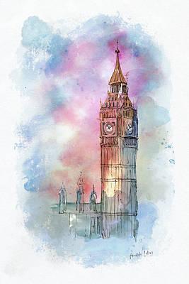Wall Art - Mixed Media - Big Ben by Amanda Lakey
